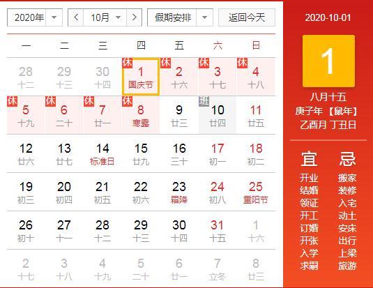 国庆和中秋同一天,100年只有4次,国庆中秋假期加班3倍工资