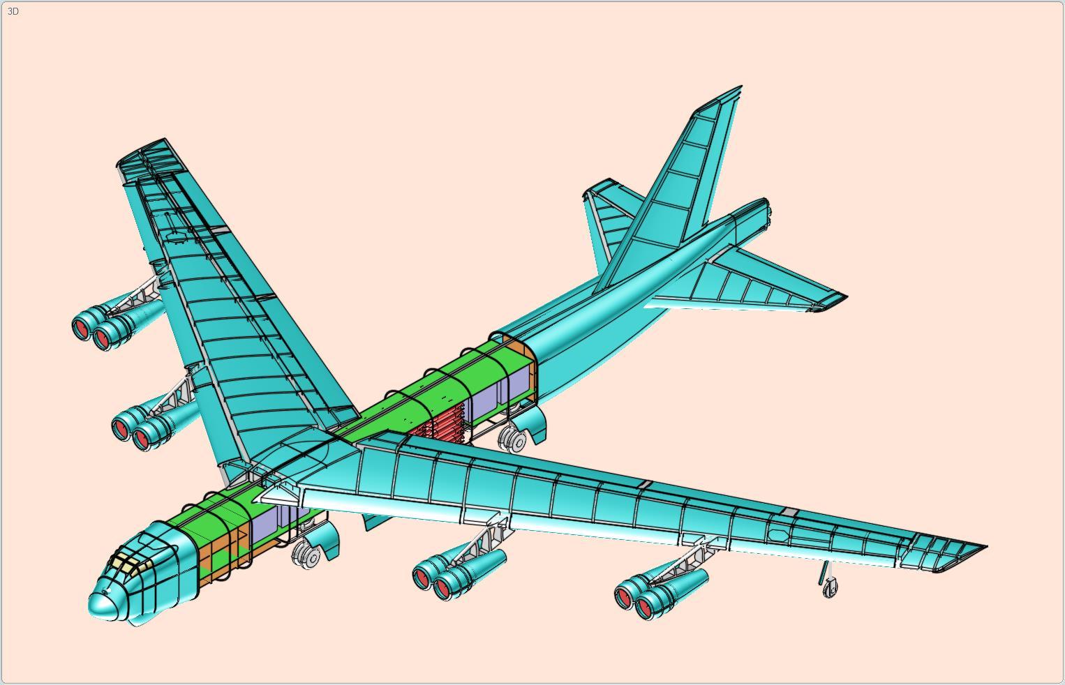 B-52轰炸机简易模型3D图纸 STP格式