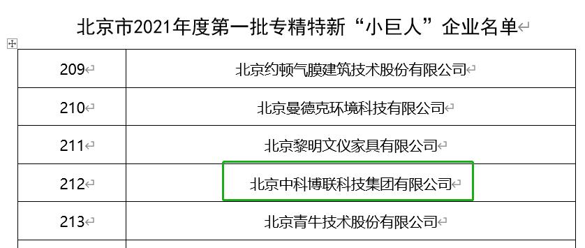 """澳门百老汇游戏网址入选北京市2021年度专精特新""""小巨人""""企业"""