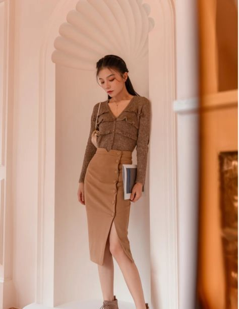 法式针织衫穿搭咖啡味的复古优雅
