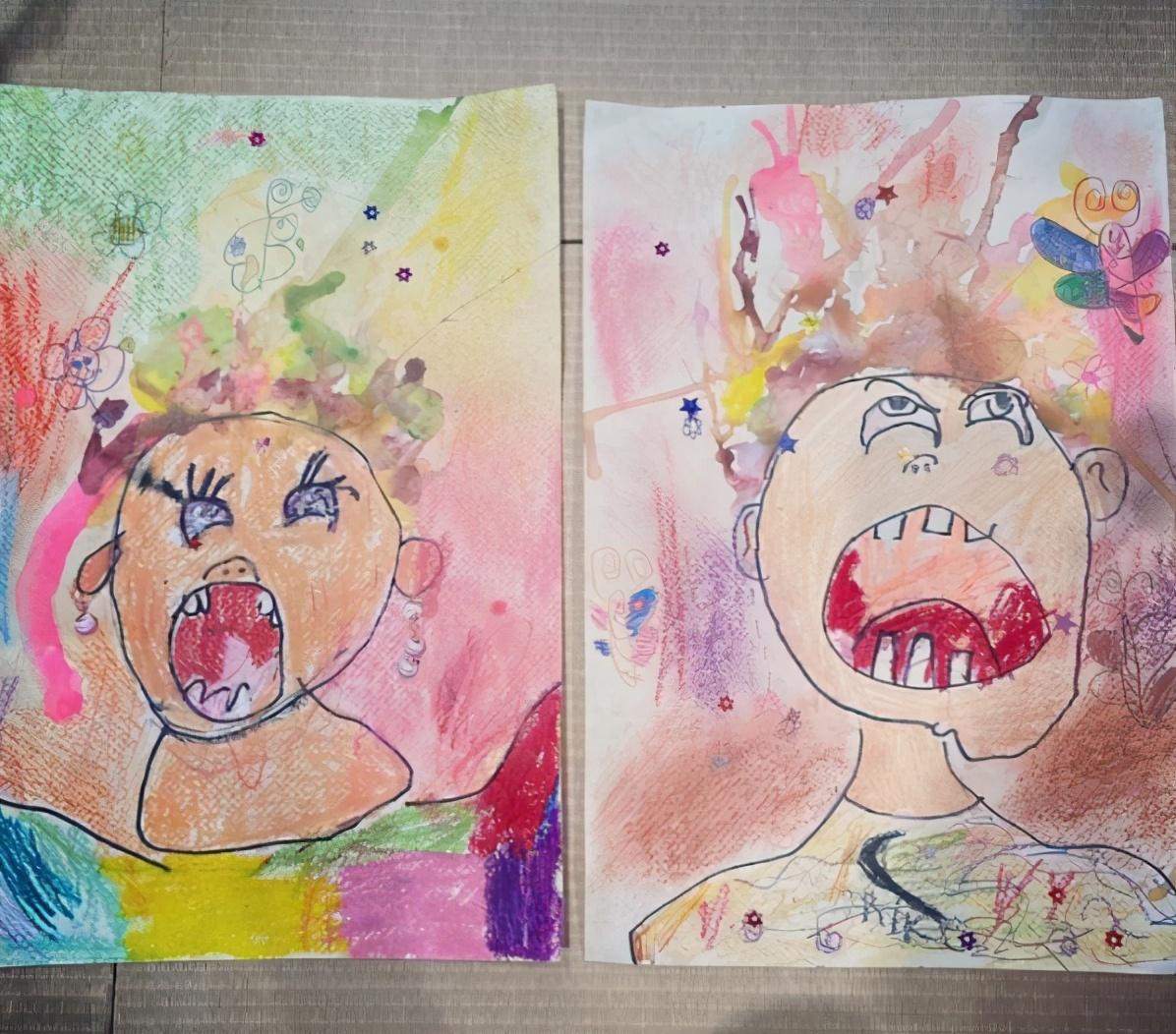 """贾静雯两女儿画作太""""恐怖"""",画风诡异人物张牙舞爪,堪比毕加索"""