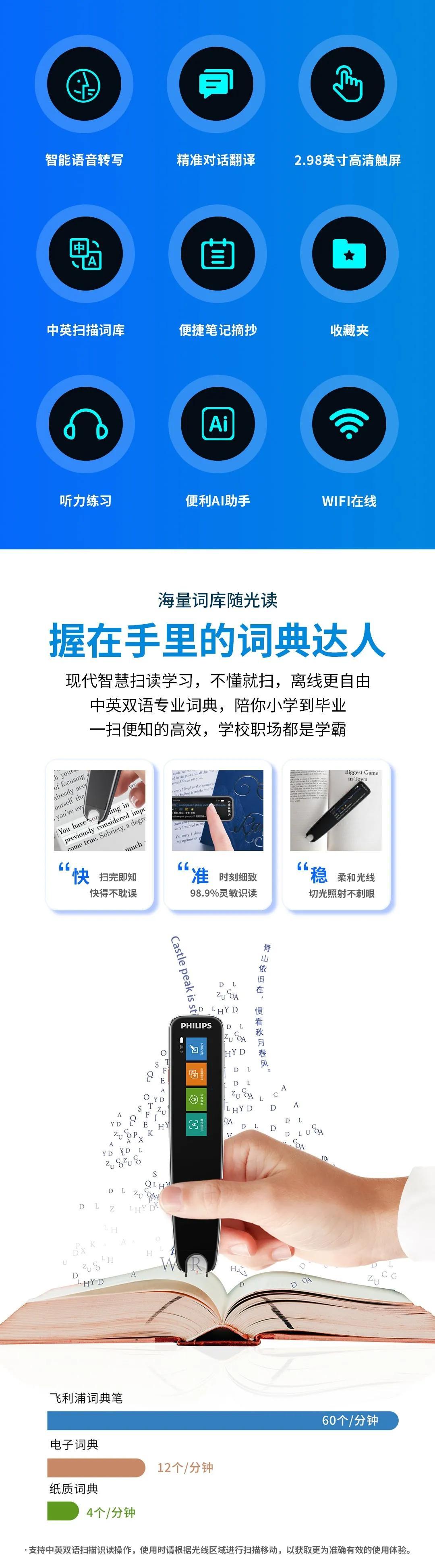 飞利浦扫描词典笔VTR7300:一笔轻扫,学成无境