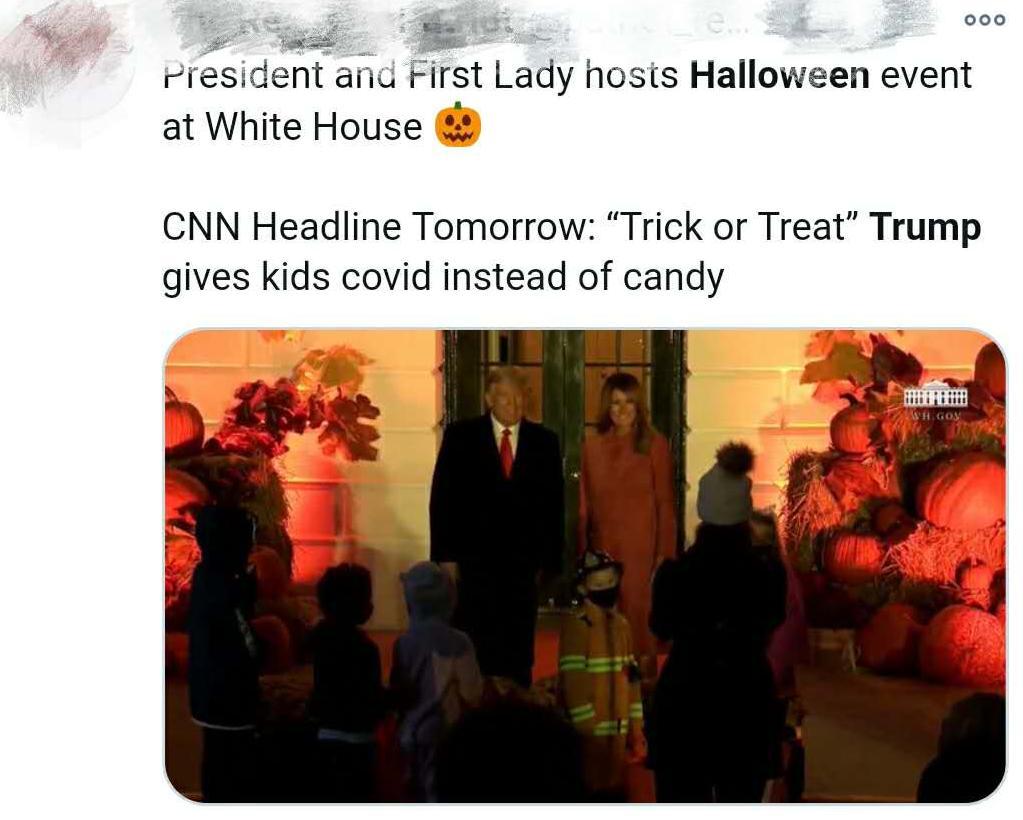 美国白宫官员相继确诊 特朗普仍搞万圣节活动 网友:送出的不是糖果是病毒