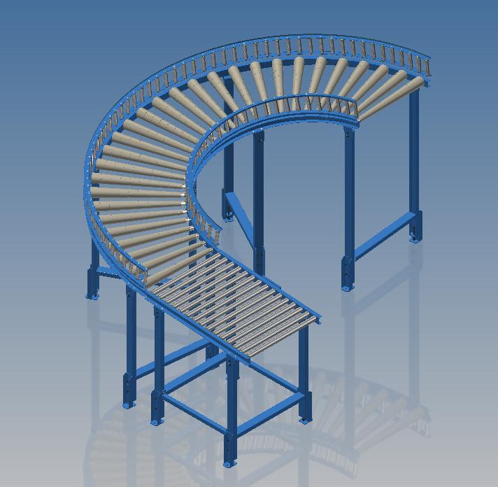 曲线斜坡滚筒输送线3D图纸 INVENTOR设计 附STP IGS