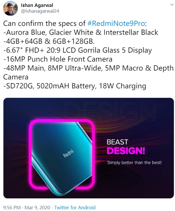 骁龙720G 5020毫安时充电电池,红米noteNote 9 Pro配备曝出,挖孔屏 集成浴霸