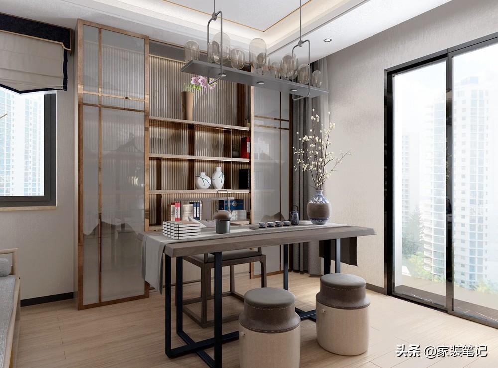 長沙夫妻的快意生活,120㎡裝輕奢中式風,客廳造型很有文化感