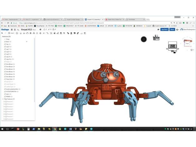Vorpal六足爬行玩具机器人3D打印图纸 STL格式
