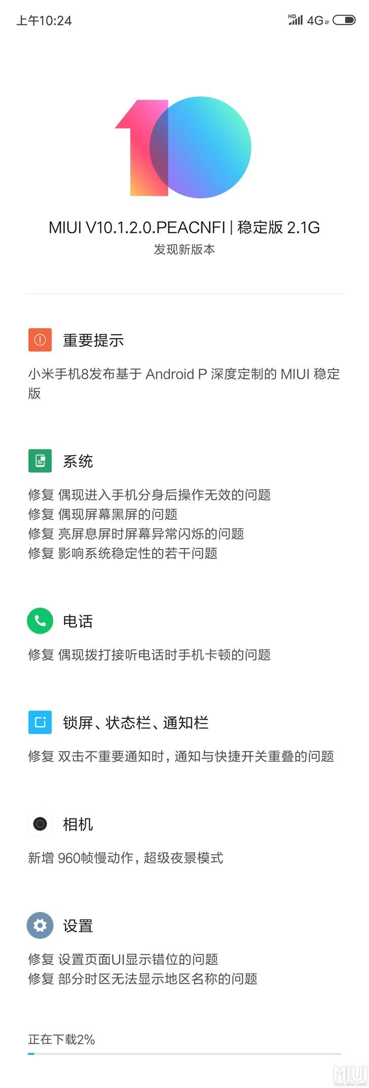 小米8专业版MIUI 10.1宣布消息推送,看一下都升级了什么內容?