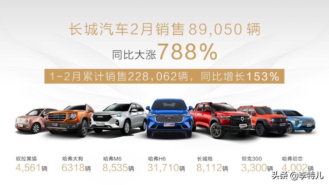 长城汽车2月销量出炉:总销8.9万皮卡火爆 哈弗H6破3万台