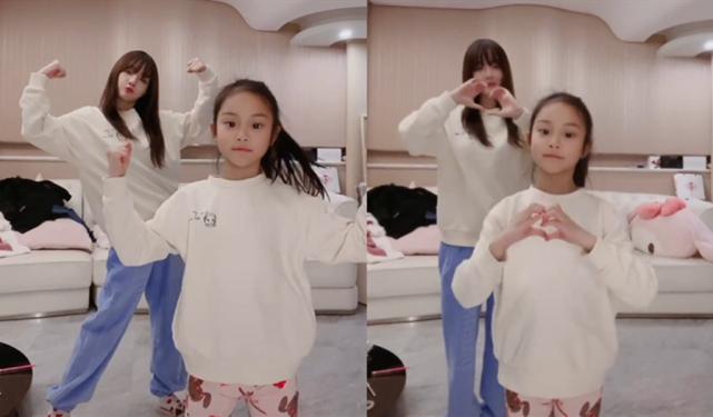 李小璐與女兒同框跳舞,母女穿親子裝像極姐妹花,甜馨越長越漂亮