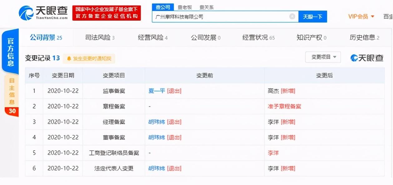 摩拜创始人胡玮炜退出广州摩拜科技有限公司法定代表人、董事