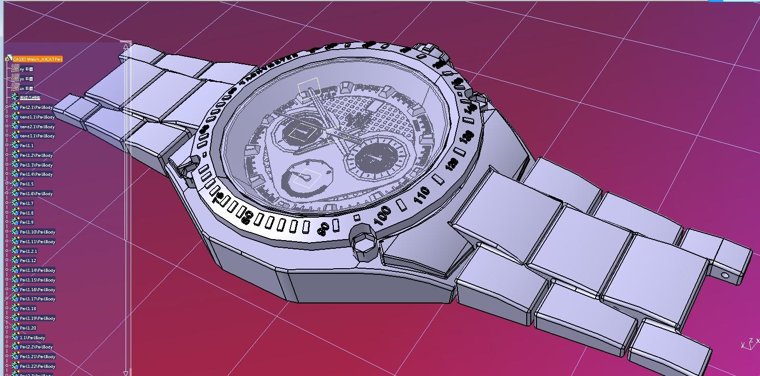 Casio Watch腕表手表模型3D图纸 CATIA设计 附STP