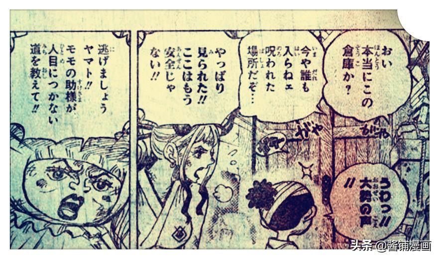 海賊王1005話,桃之助躲進大和衣服裡,凱多的機械人叫梅利茲