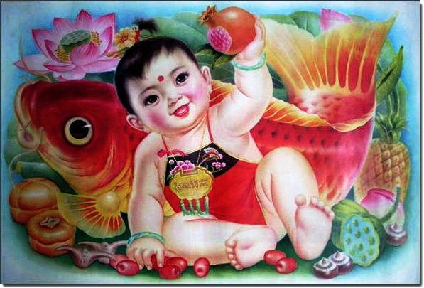 喜庆的旧年画-胖娃