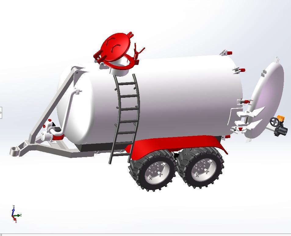 水罐车拖车3D数图纸 Solidworks设计 附STP