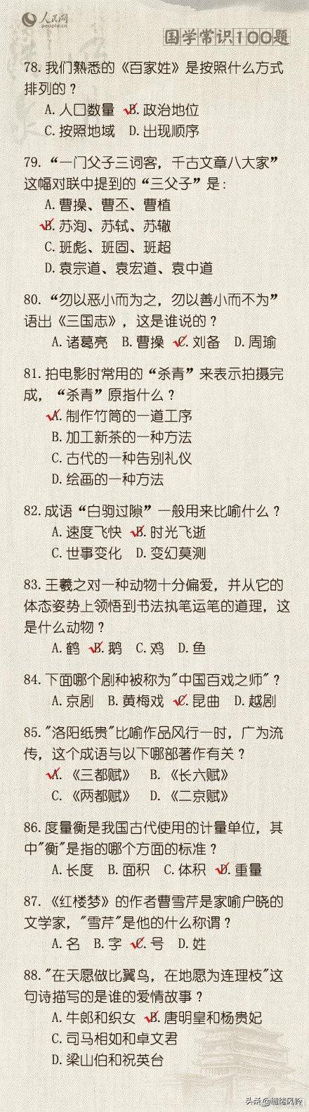 《人民网》整理国学常识100题,不看答案,你能答对几题?