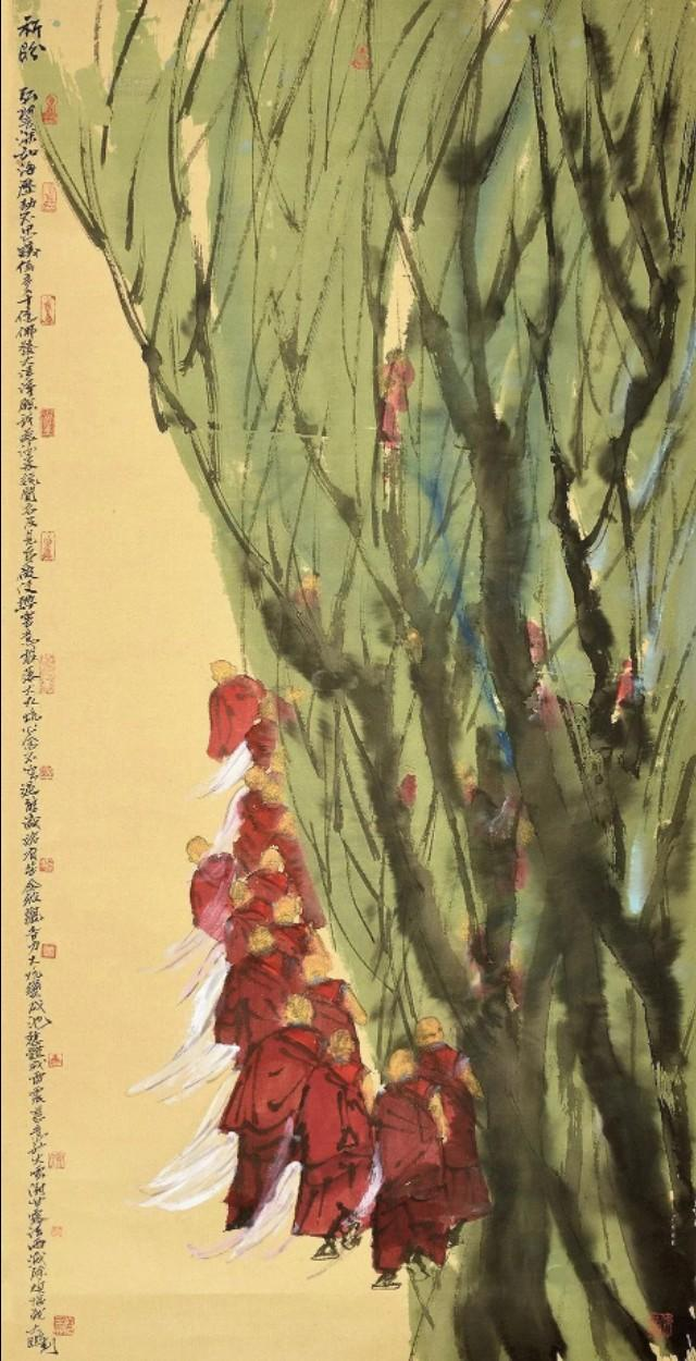 以佛家生活为主题的国画,每一幅都很清净庄严,不错