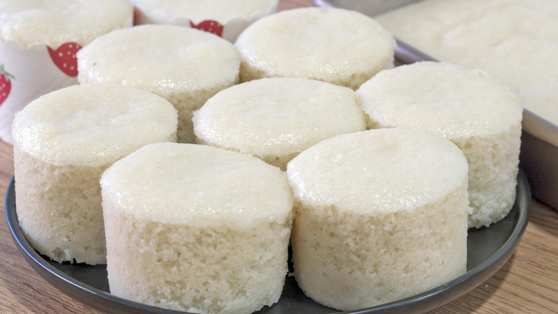 自製米發糕最簡單的做法,不揉麵,筷子攪一攪,不塌陷,色白Q彈