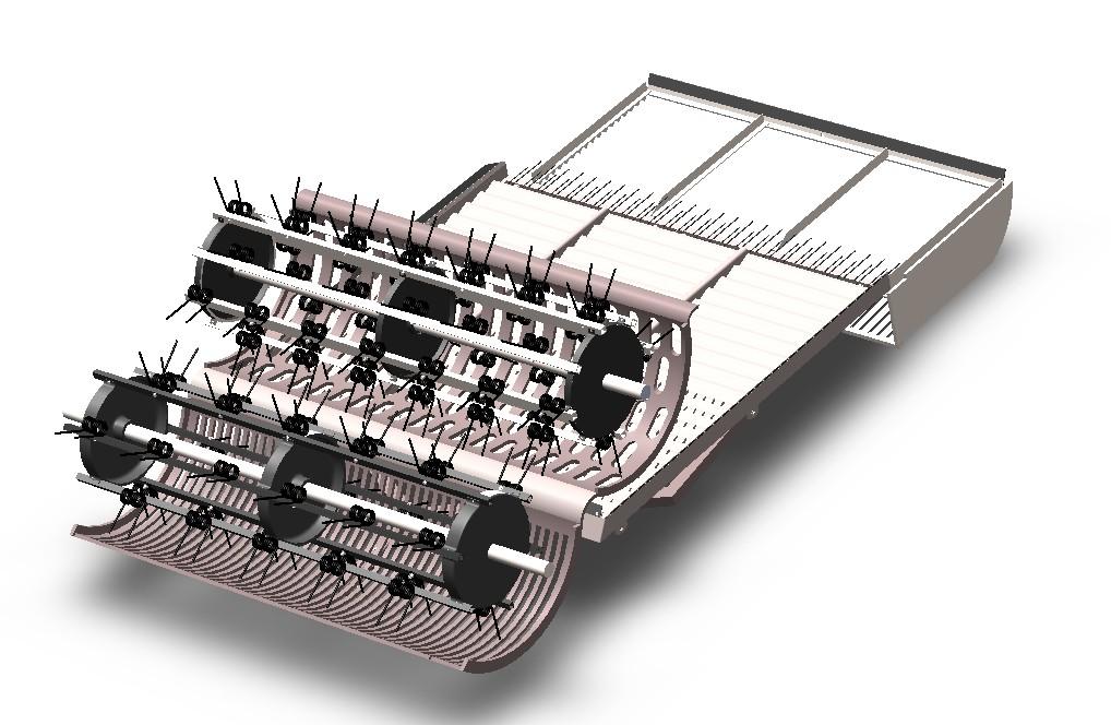 花生收获机内部结构3D图纸 Solidworks设计