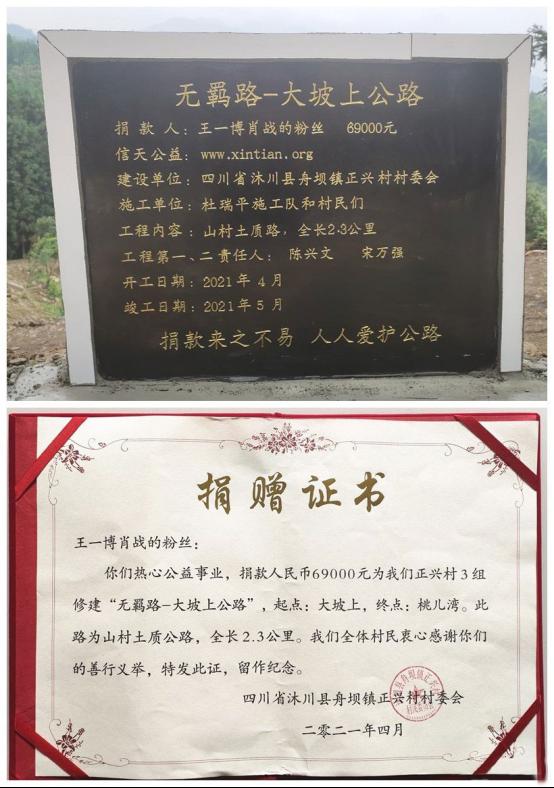 王一博肖战的粉丝为村民捐献无羁路!太暖心了
