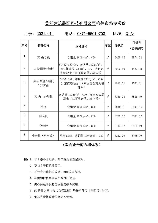 河南省装配式建筑预那个杀手给制构件市场参考价(2021年1月)