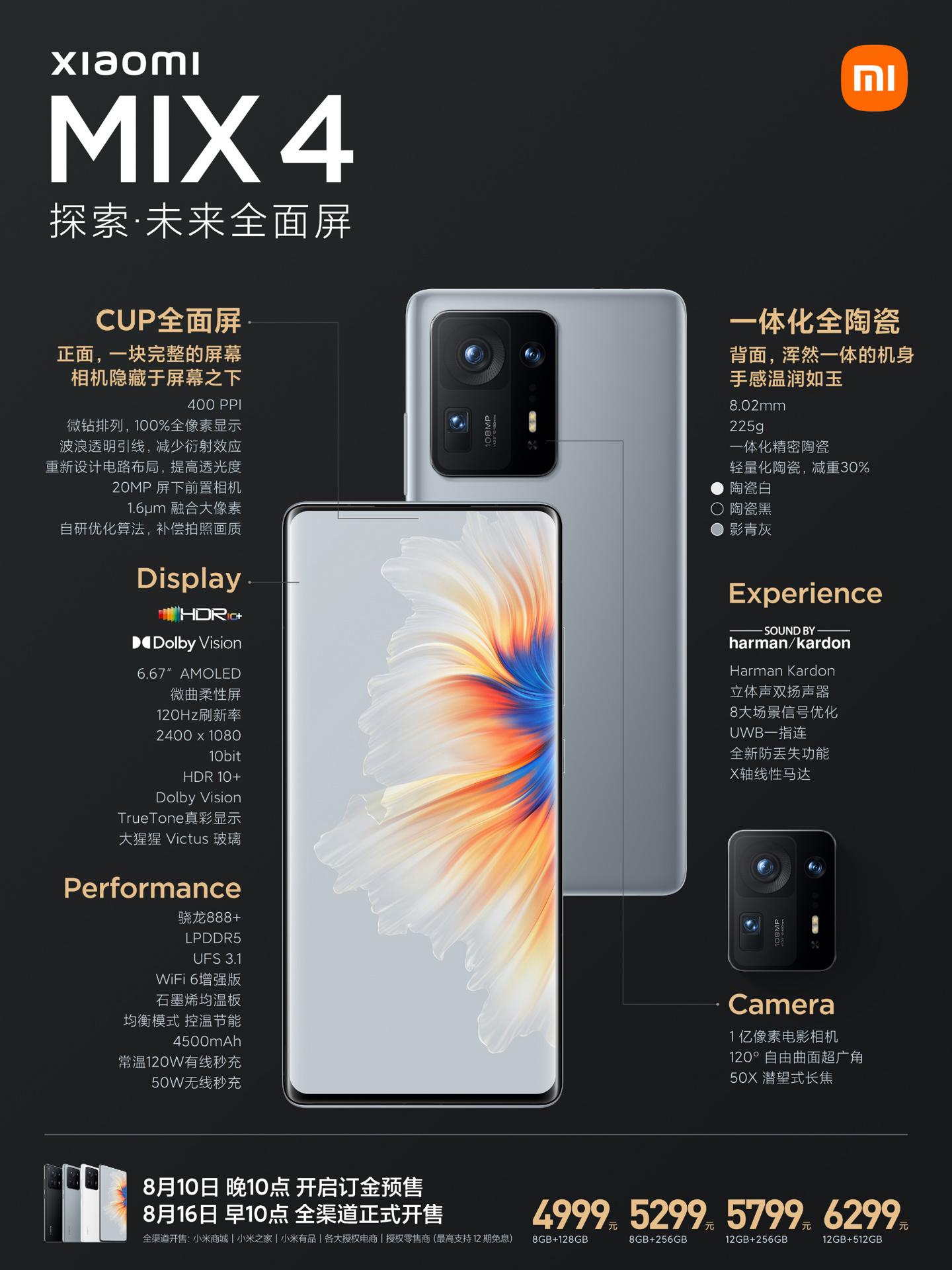 4999 元起,小米 MIX 4 全面屏手机正式发布