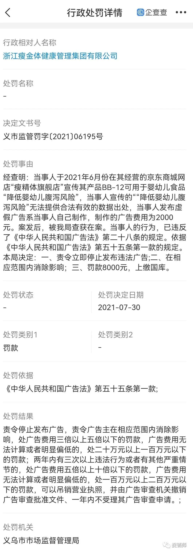 浙江瘦金体健康解决集体有限公司因广告中含有虚假内容遭处罚