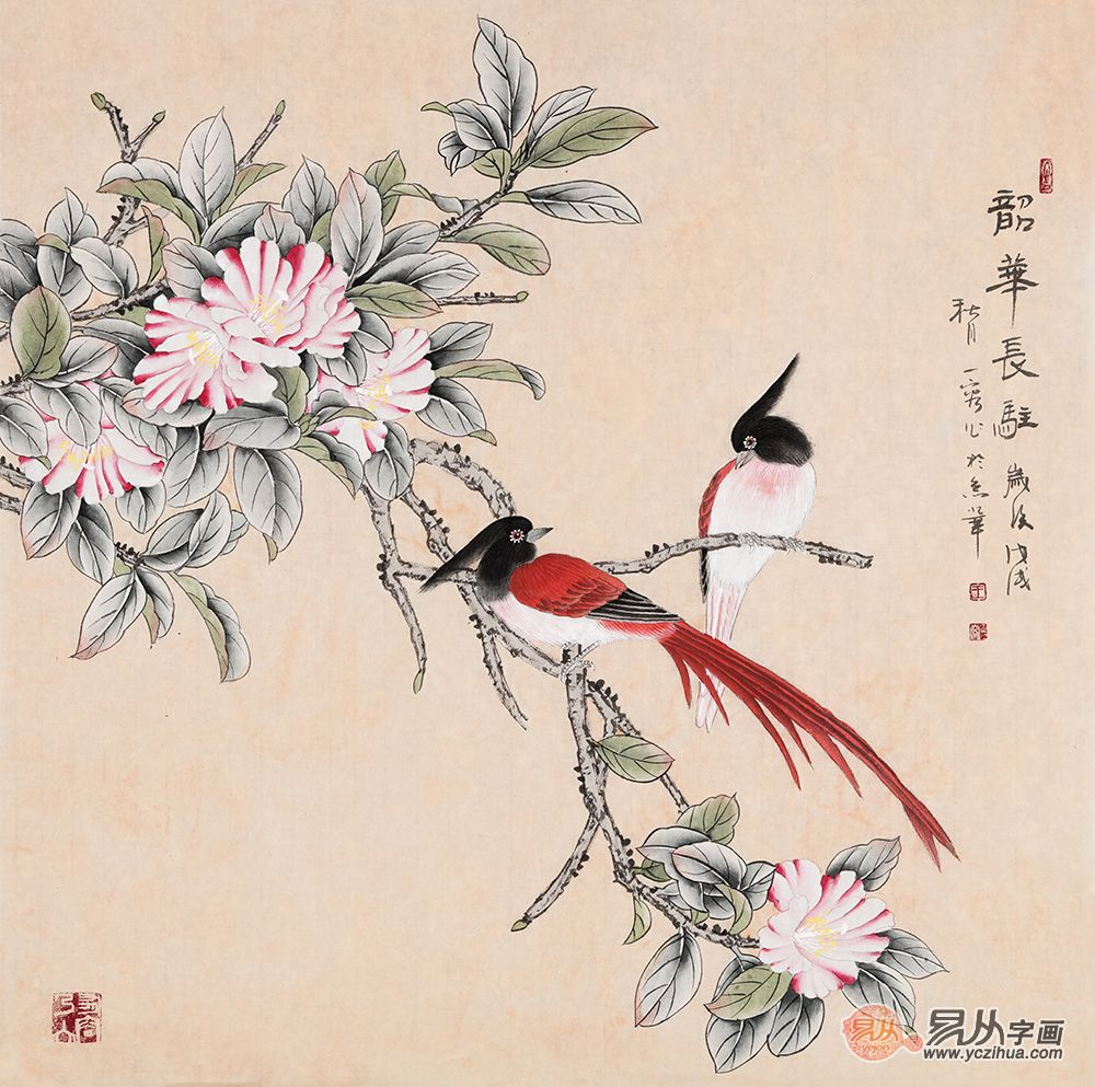 美到窒息的花鸟画:温馨舒适的卧室环境,离不开挂画的点缀