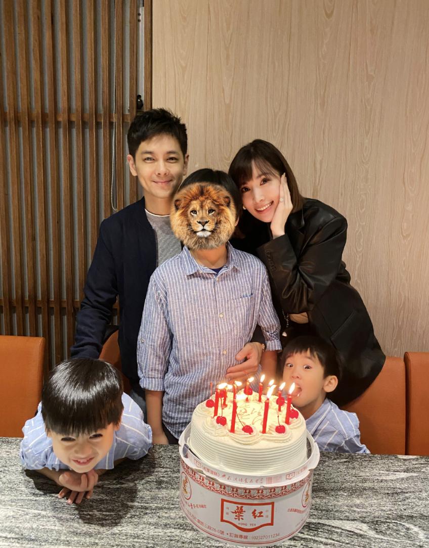 林志颖为12岁儿子庆生,Kimi身高直逼爸爸妈妈,父子同框像兄弟