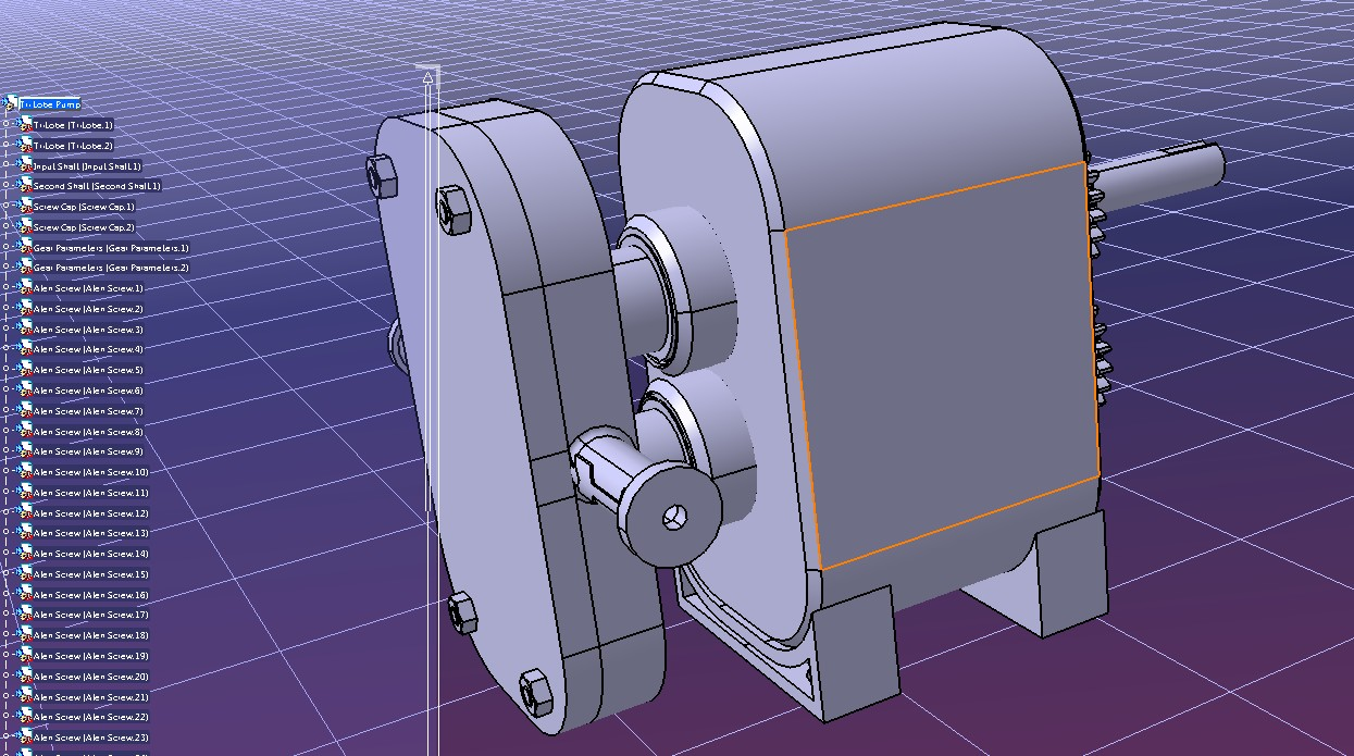 tri-lobe pump三叶泵模型3D图纸 CATIA设计 附STP