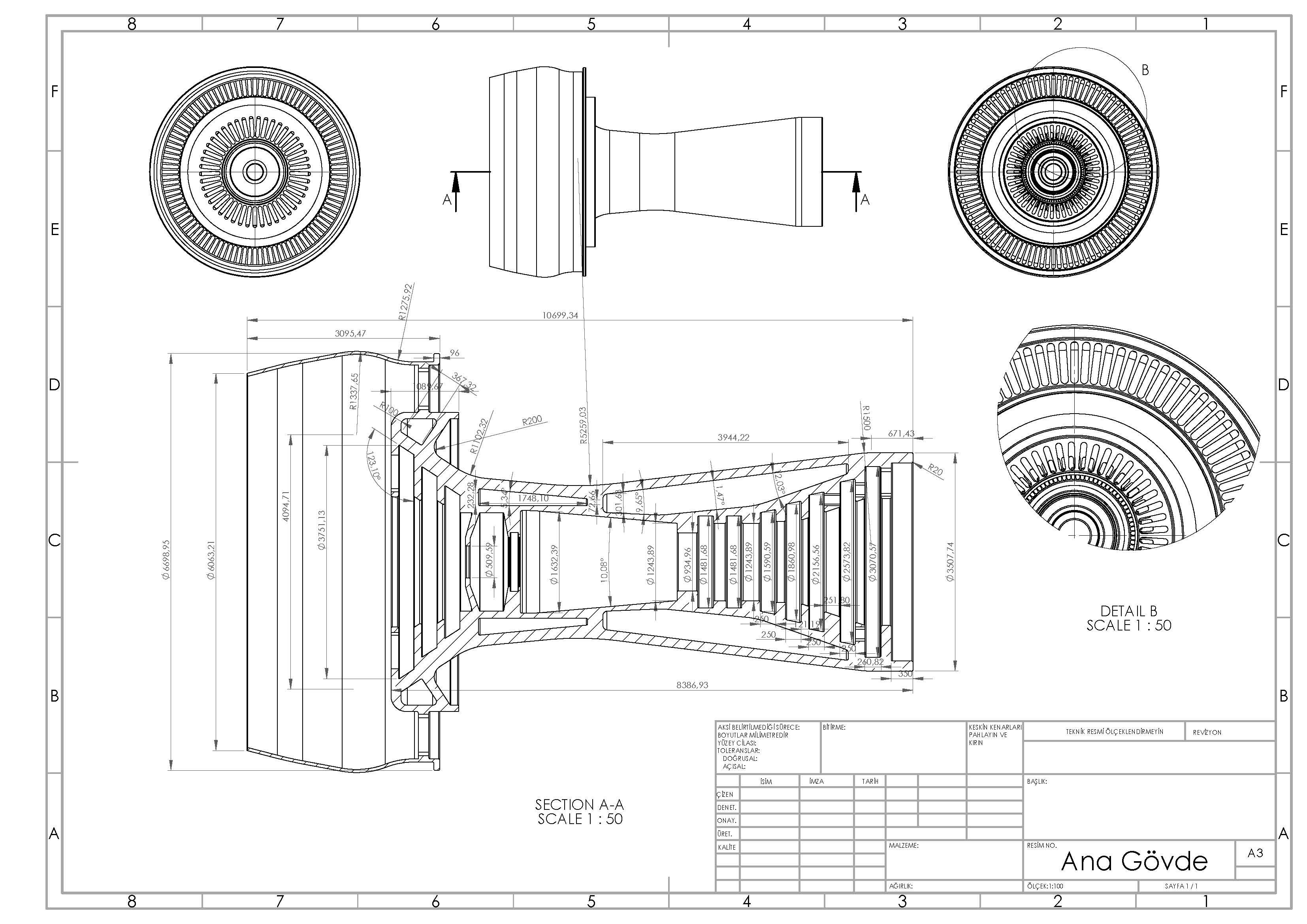 Gas Turbine Engine燃气轮机发动机概念模型3D图纸 Solidworks