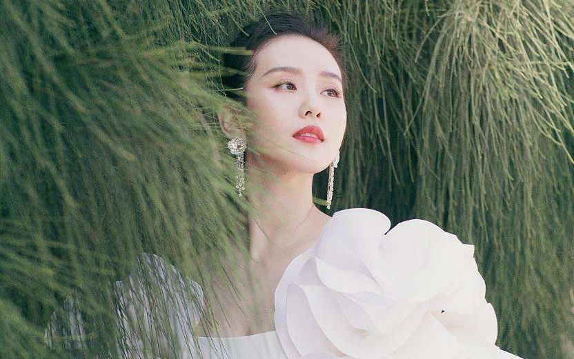 33岁刘诗诗穿灰蓝星空裙参加活动,绝美一字肩仙气逼人