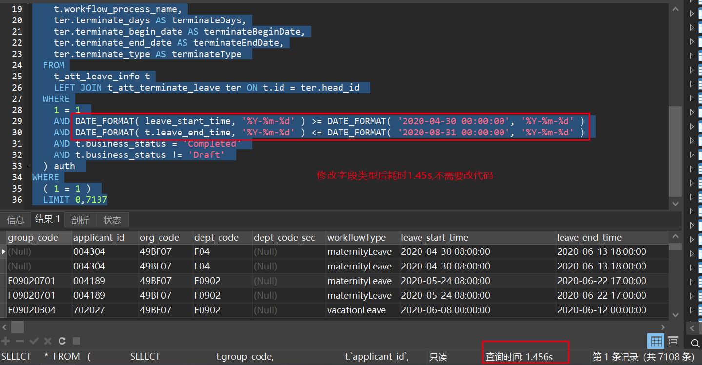 分享一则生产数据库sql优化案例—从98s优化到1.4s