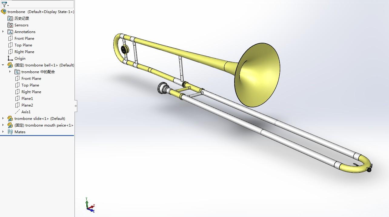 trombone乐器长号模型3D图纸 Solidworks设计