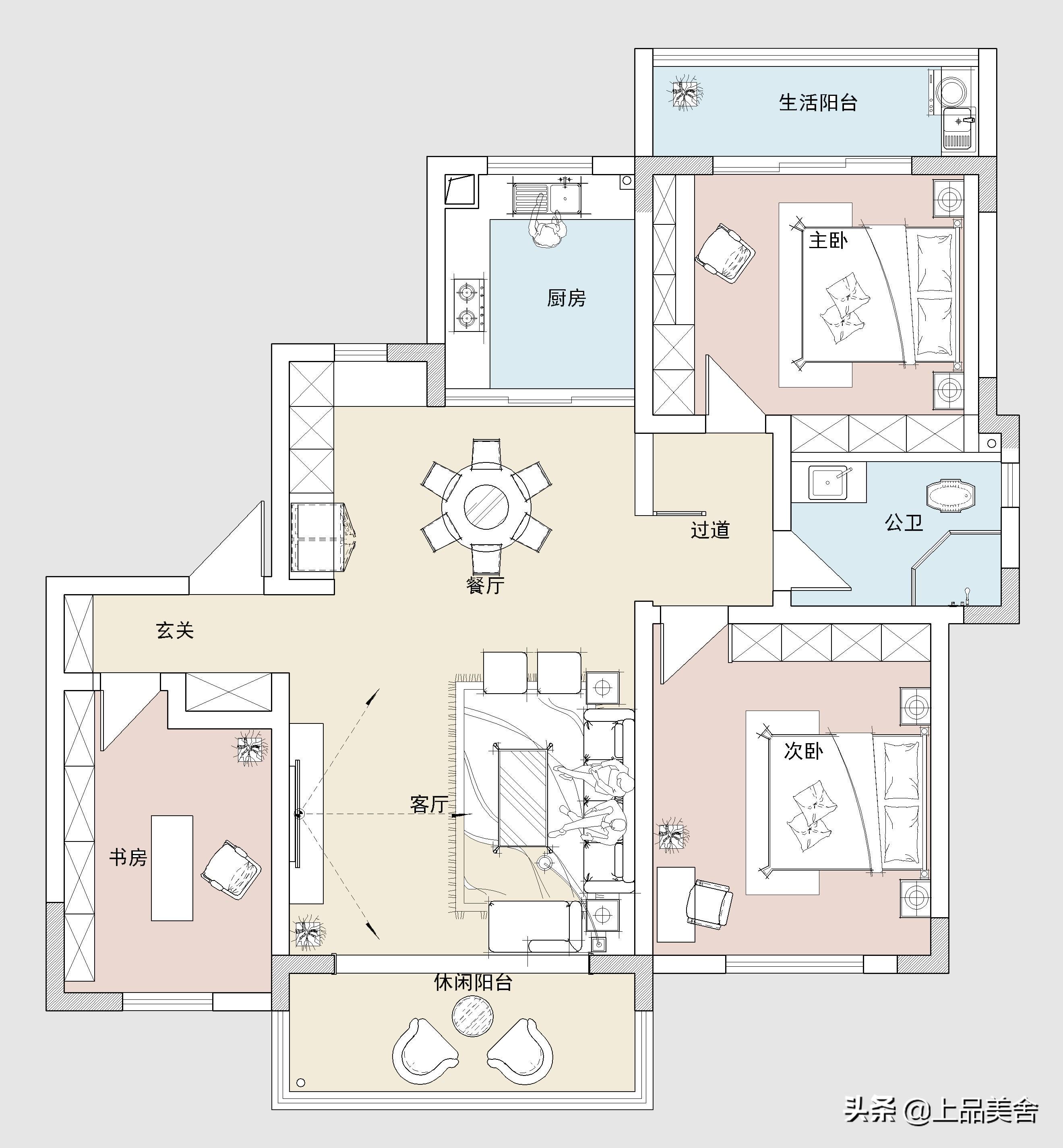 131平米现代风格,客厅电视背景用大理石加木饰面搭配,时尚大气