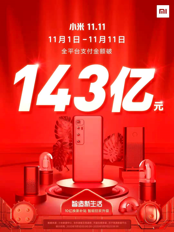 小米双 11 全平台支付金额破 143 亿元