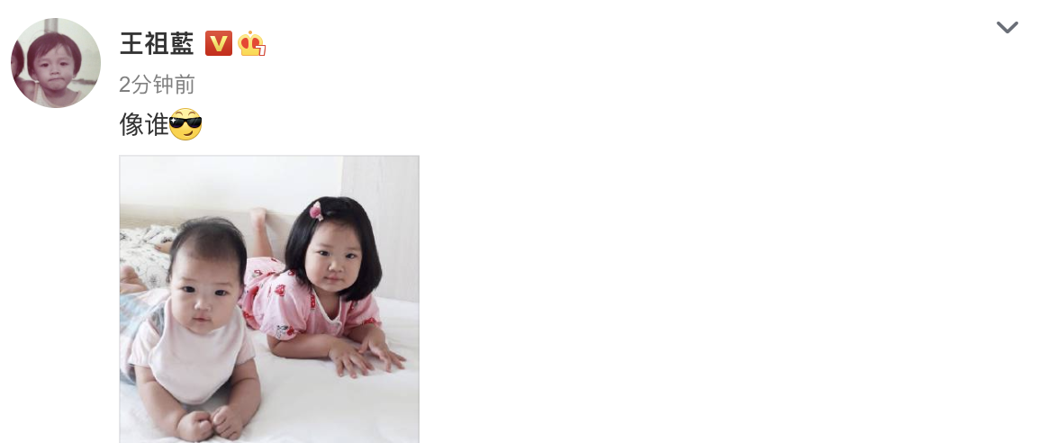 王祖藍曬兩個女兒問像誰,姐妹倆趴在床上顯呆萌,長相如復制粘貼