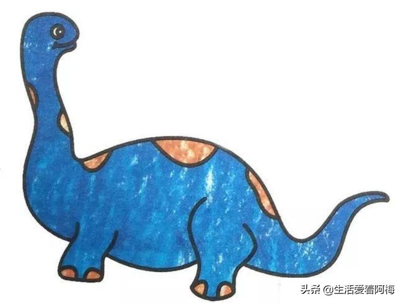 简单彩色的恐龙简笔画教程