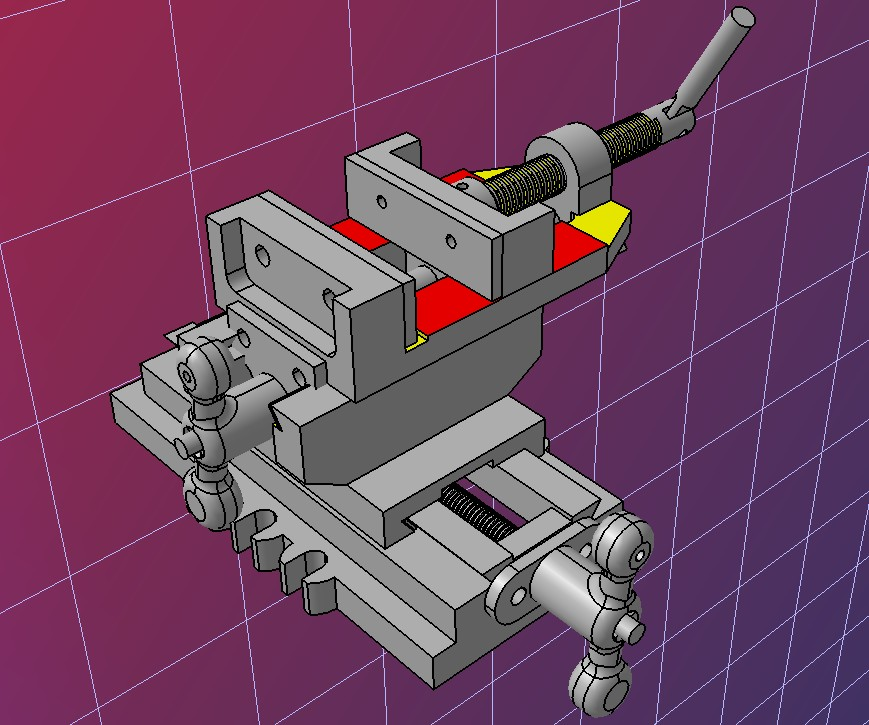 十字夹虎钳xy钻台虎钳3D数模图纸 STEP格式