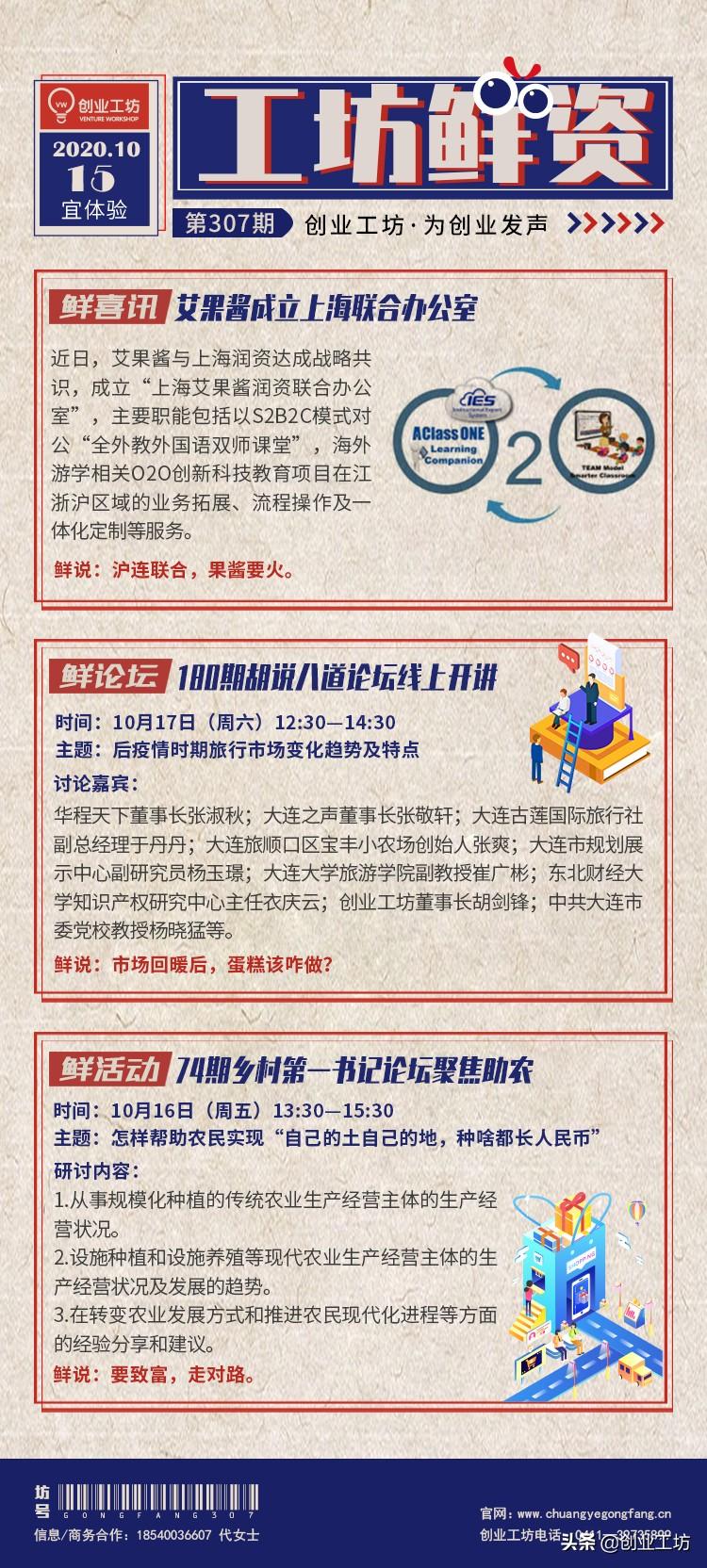 工坊鲜资307期:艾果酱上海联合办公室;180期胡说八道线上开讲