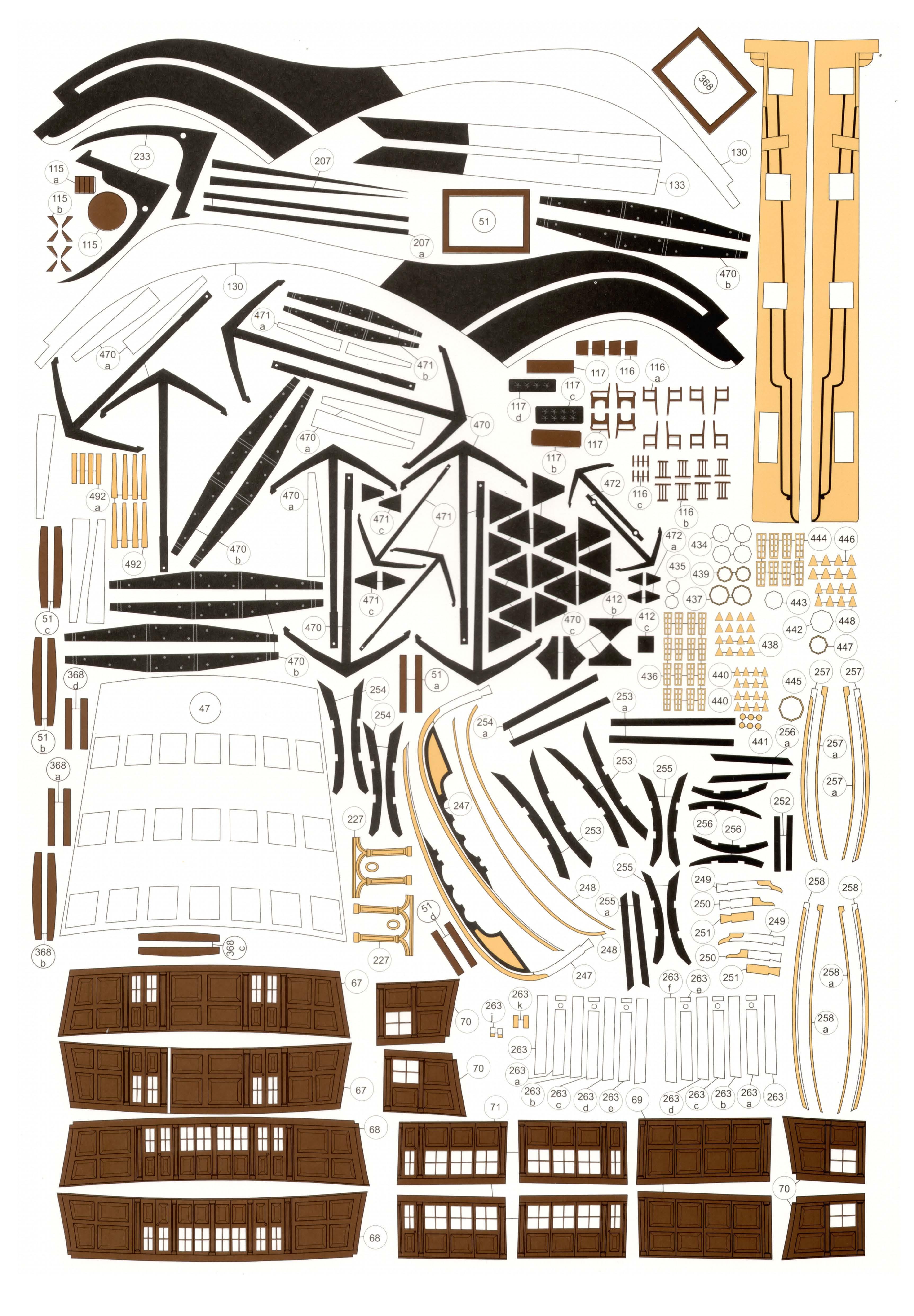 英国古帆胜利号船模平面图纸 JPG格式