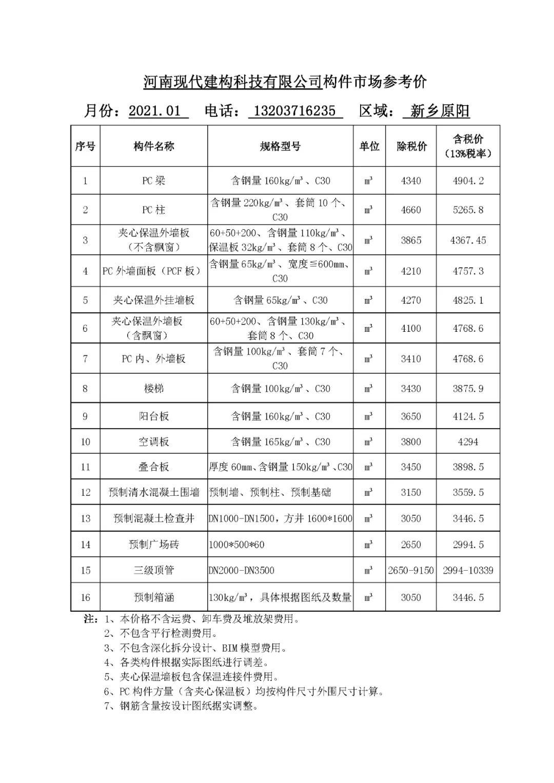 河南省装配式建筑预制构件市∞场参考价(2021年1月)