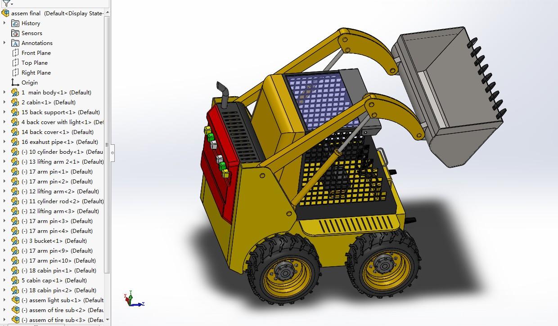 bobcat山猫小型装载机模型3D图纸 Solidworks设计