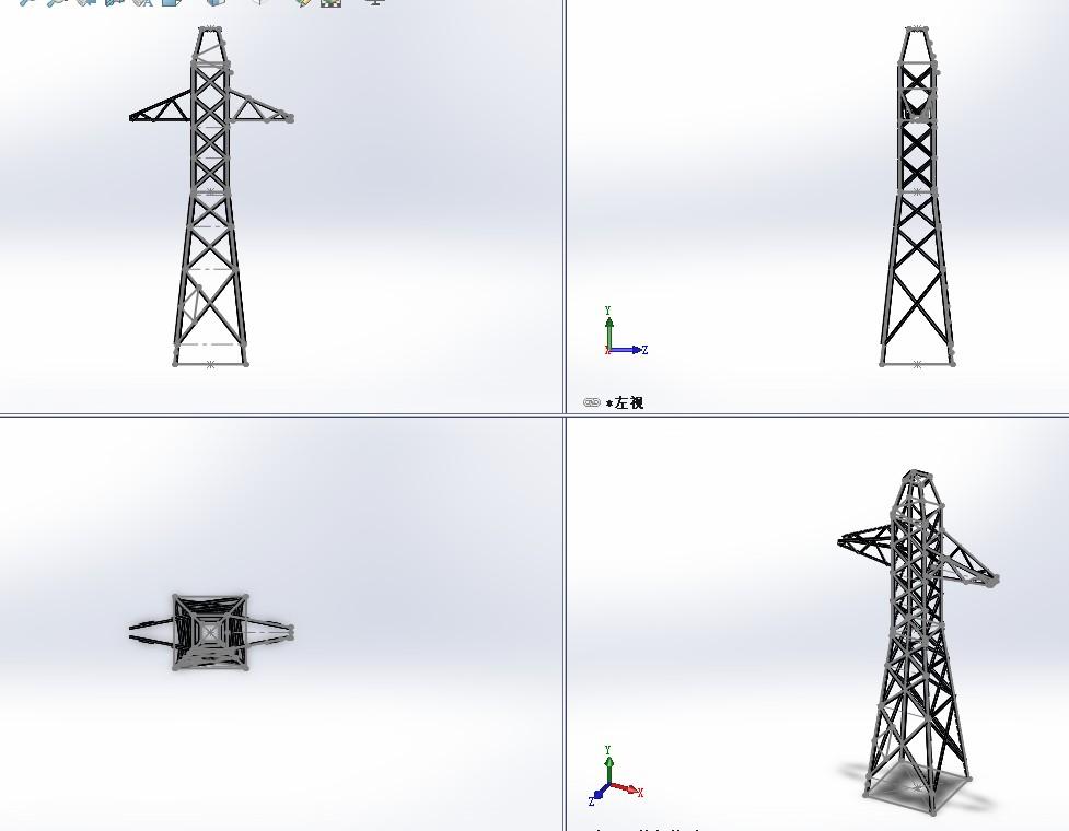 输电塔结构简易模型3D图纸 Solidworks设计