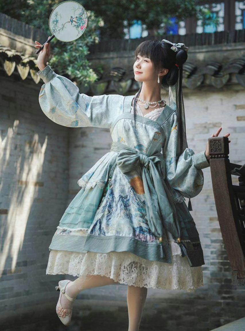 最近火了一种中国风lo裙,素雅又清新,只可惜穿上身很显矮