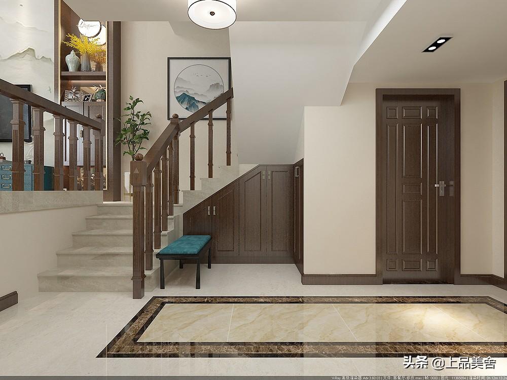 350平新中式風格,挑高客廳沙發背景墻用大理石,彰顯豪宅氣質