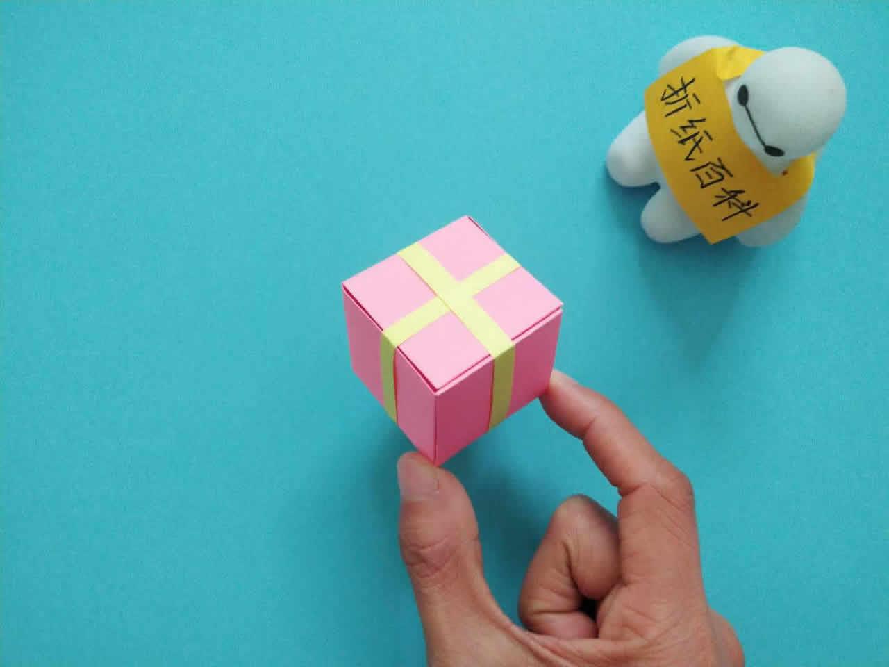 教你折纸方形带盖礼品收纳盒,简单又漂亮,手工折纸图解教程 家务 第9张
