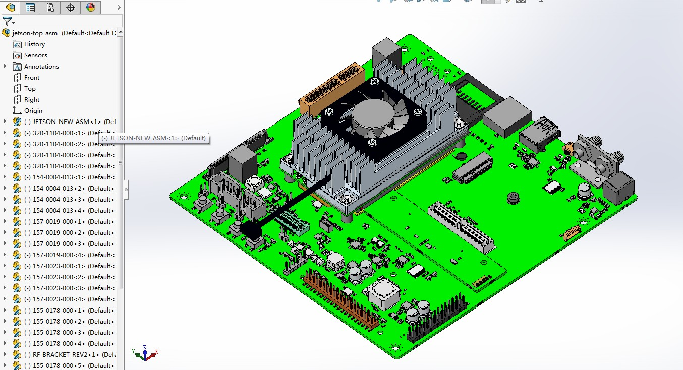 nvidia Jetson TX1嵌入式开发板3D数模图纸 Solidworks设计 附STP
