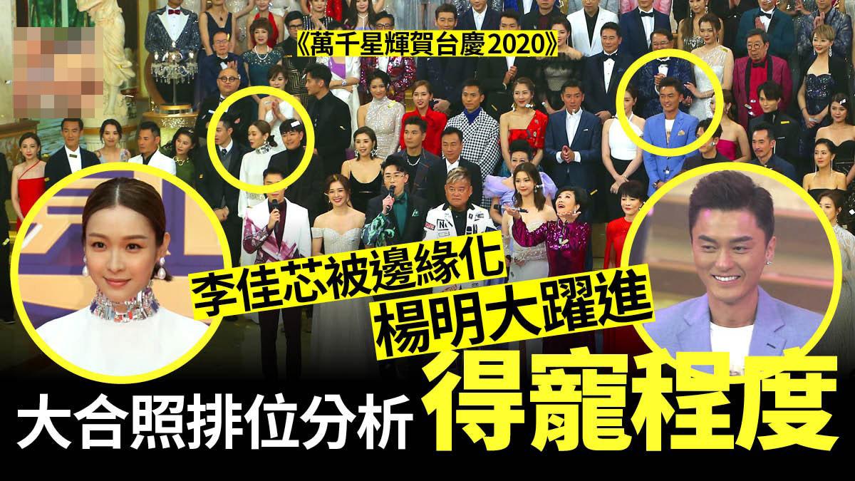 《TVB万千星辉贺台庆2020》大合照排位分析地位