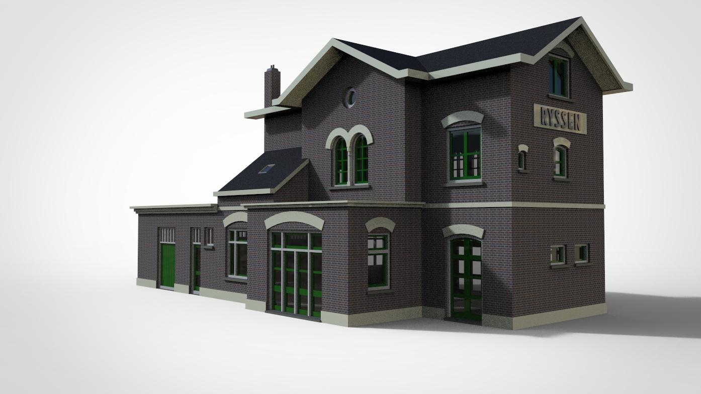 欧洲老式火车站模型3D图纸 STP IGS格式